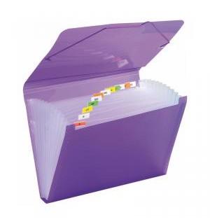 Carpeta acordeón A4 PP con gomas violeta